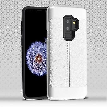 Silver Leather Texture/Black Hybrid Protector Cover for Galaxy S9 Plus