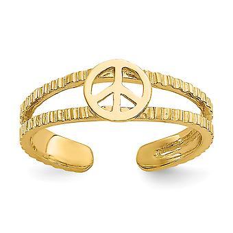 14k Jaune Or Poli Sparkle Cut Peace Sign Toe Ring Bijoux Bijoux pour les femmes - 1.1 Grammes