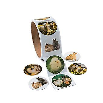 Roll of 100 Easter Animal Photo Stickers for Kids Crafts
