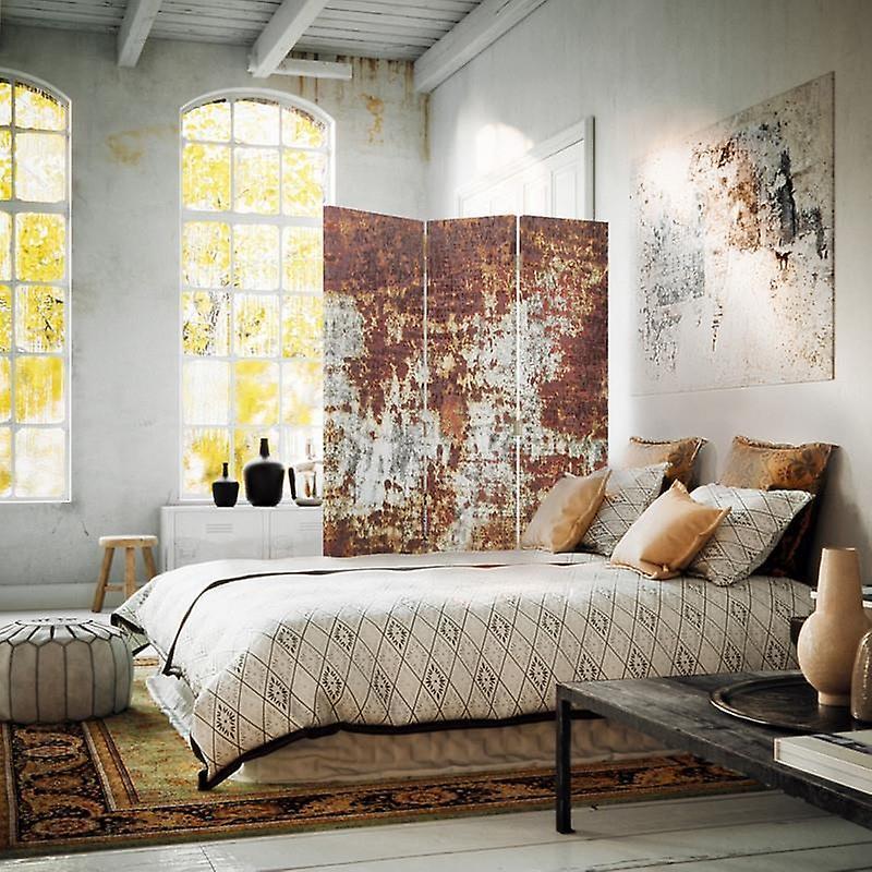 Diviseur de chambre, 3 panneaux, à un seul côté, toile, métal rouillé 2