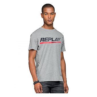 Replay Jeans Replay Brand Logo T Shirt Grey Marl