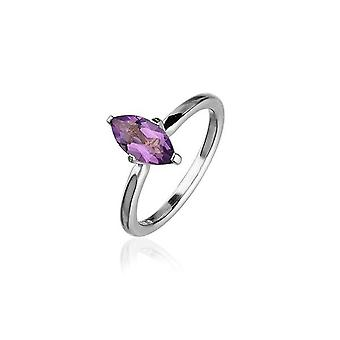 Sterling Silver Traditional Scottish 'Cupid' Design Ring WIth Amethyst Stone