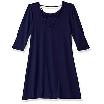 Amy Byer Girls' Big Mid-Sleeve Knit Dress, sea Navy, S