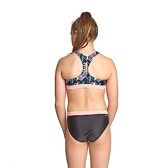 Zoggs Shimmer Muscle Girl's Two Pieces Bikini in Black / Multi Eco Fabric