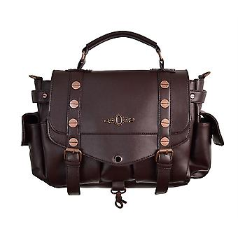 Banned Brown Steampunk Handbag With Copper Details