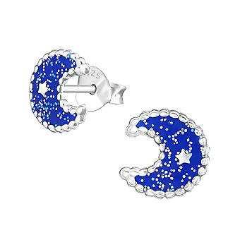 Moon - 925 Sterling Silver Colourful Ear Studs - W37514x