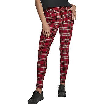 Urban Classics damer-TARTAN skinny bukser rød