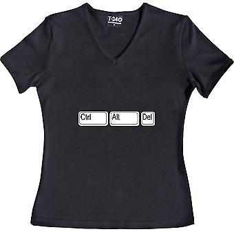 Ctrl Alt Del V-Neck Black Women's T-Shirt