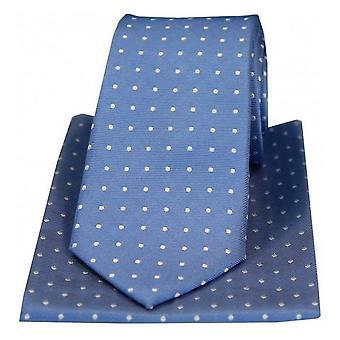 David Van Hagen Small Polka Dots Silk Tie and Hanky Set - Blue/White