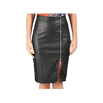 P UK Faux Leather Knee Length Skirt