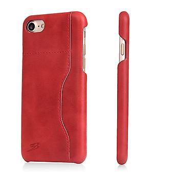 Voor iPhone 8,7 Portemonnee Case, stijlvolle gewaxte beschermende koe lederen cover, rood