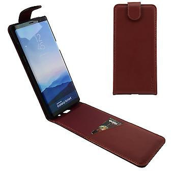 For Samsung Galaxy Note 8 Case,iCL Flip Genuine Leather Cover,Reddish Brown