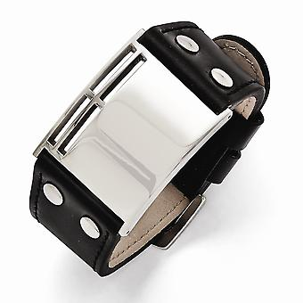 Stainless Steel Polished Black Leather Buckle Bracelet 9.25 Inch Jewelry Gifts for Women