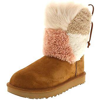 UGG Womens Classic Short Patchwork Fluff Boot