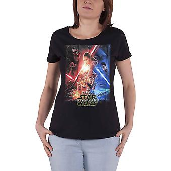 Official Womens Star Wars T Shirt Rey Kylo Jedi Movie Poster Black Skinny Fit