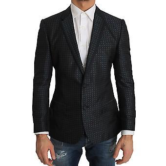 Dolce & Gabbana Blue Pattern Silk Slim Fit Blazer Jacket