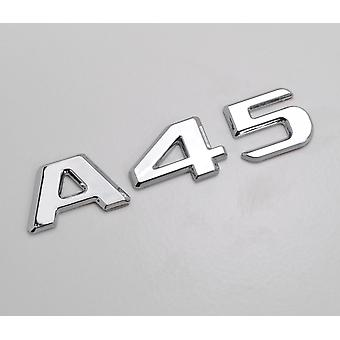 Silver Chrome A45 Flat Mercedes Benz Car Model Numbers Letters Badge Emblem For A Class W176 W177 AMG