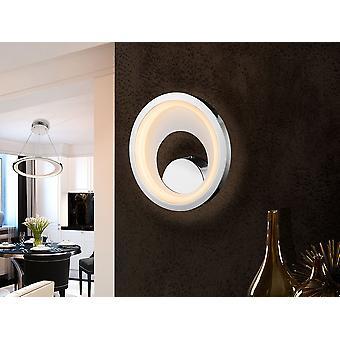 Schuller Laris - lampe murale LED, en métal, chrome et finition blanche mat. Diffuseur acrylique opale. 15.5W LED. 431 lm. 3 000 K. - 281096