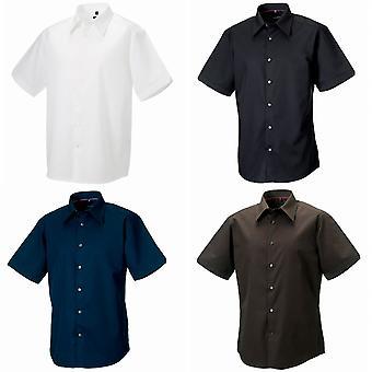 Russell coleção Mens Short Sleeve Tencel® cuidado fácil equipado camisa