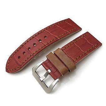 Strapcode crocodile grain watch strap 26mm miltat antipode watch strap matte red crococalf in tan main stitches