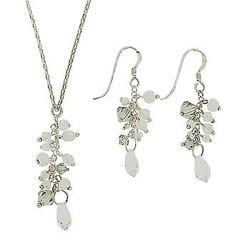 Aeon Rhinestone Beads Cluster Necklace and Earrings Gift Set