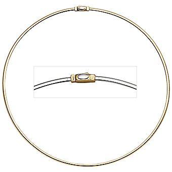 Kvinders choker 585 gulguld hvidguld på begge sider bærbare 45 cm guld kæde halskæde