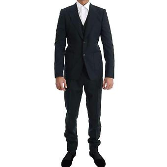 Dolce & Gabbana Zelená vlna Stretch Slim Two Button Suit -- KOS1414640