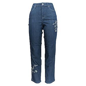 Denim & Co. Women's Jeans Slim Leg Ankle w/ Embroidery Blue A301036