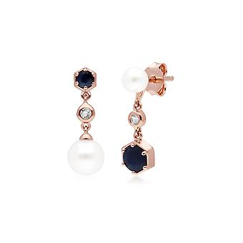 Modern Pearl, Sapphire & Topaz Mismatched Drop Earrings in Rose Gold Plated Sterling Silver  270E030301925