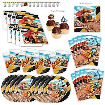 Construction Construction Machinery Building Party Set XL 61-piece for 8 guests party construction site party birthday party package