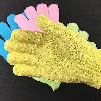 Multicolor Five Fingers Bath Towel Gloves For Shower - Candy Color Scrubber For Body Wash And Skin Spa