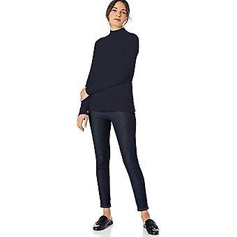 Marque - Lark & Ro Women's Rib Detail Mock Neck Sweater, Dark Navy, Med...