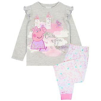 Peppa Pig Pyjamas for Girls Mesh Pocket Grey Pink Glitter T-shirt & Legging PJs