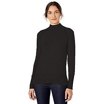 Marque - Lark & Ro Women's Rib Detail Mock Neck Sweater, Noir,Small