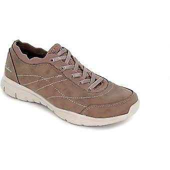Skechers Seager Ladies Slip On Trainers Dark Taupe