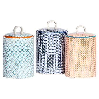 Nicola Spring 3pc Hand-Printed Biscuit Barrel Set - Porcelain Kitchen Storage Canisters - 3 Colours - 15.5 x 25cm