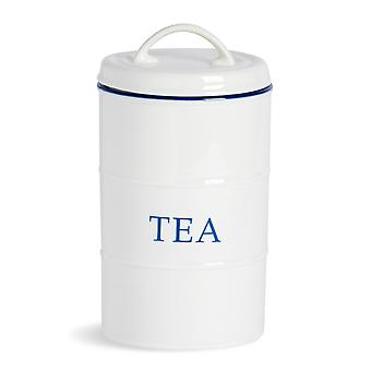 Nicola Spring Country Farmhouse White Kitchen Tea Canister avec Jante Bleue - 11cm x 20cm