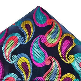 Ties Planet Van Buck Platinum French Navy With Colourful Paisley Patterned Silk Pocket Square Handkerchief