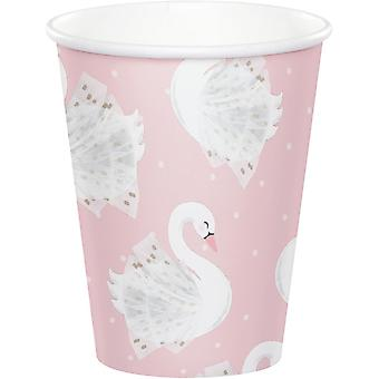 Pink Swan Princess Paper Party Cups  - Birthday Tableware x 8