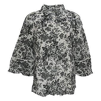 Isaac Mizrahi Live! Women's Top Toile Printed Button Placket White A354782
