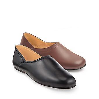 Chums Pack van 2 Heren Real Leather Grecian Slippers met leren zolen