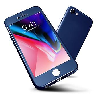 Stuff Certified® iPhone 7 Plus 360 ° Full Cover - Full Body Case Case + Screen protector Blue