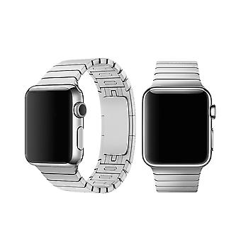 Geschikt voor Apple Watch 42/44MM Metalen Schakel Bandje Zilver