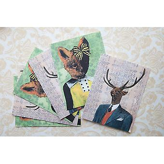 Fox And Deer Mixed Stationery Set Cards