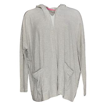 Isaac Mizrahi Live! Dames's Sweater Hooded Cardigan Gray A379695