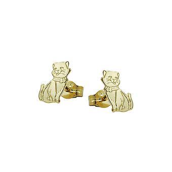 Ohrstecker Katzen teilweise Matt-finished 8k Gold