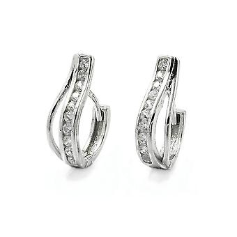 Earrings Hoop Zirconia 9k White Gold