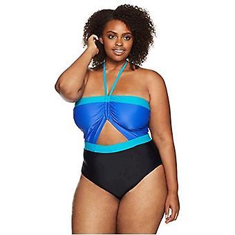 Mulheres costeiras azuis ' s Plus Size maiô de uma peça, impressão tropical, 3x (24W-26W)