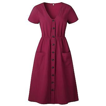 Women Summer Casual V-neck Button Pocket Short Sleeve Dress