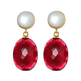 Gemshine Ohrringe rote Quarz Ovale und Mondstein Cabochons. 925 Silber vergoldet